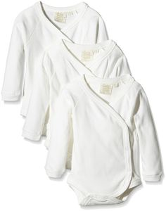 Little Green Radicals Unisex Baby 3 Pack Organic Long Sleeve Kimono Bodysuit, 0-3M (Natural)