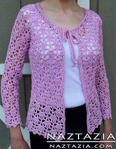 Lindo!!!! Lace Sweater, Sweater Cardigan, Crochet Jacket, Crochet Cardigan Pattern, Crochet Blouse, Crochet Patterns, Sweater Patterns, Beautiful Crochet, Crochet Sweaters