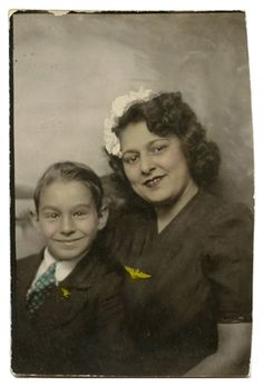 +~ Vintage Photo Booth Picture ~+  Mother and Son ~ wings.