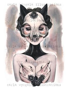 Carlations: Carla Wyzgala watercolor gallery of the painting series Skull Masquerade, illustrating Beauty with the bones of the Beast. From the lovely gothic black cat skull to a ferocious corseted lady of the T-rex skull, the series covers many mythical Art And Illustration, Inspiration Art, Art Inspo, Fantasy Kunst, Fantasy Art, Anime Fantasy, Illustrator, Cat Skull, Skull Mask