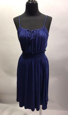 Gap Royal Blue Purple Strappy Elastic Waist Summer Knit Rayon Dress XS Euc #Gap #StrappyBeachDress #SummerBeach