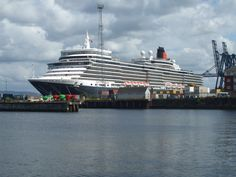Cunard's Queen Elizabeth docked at Container Terminal, Greenock, Scotland, on 2nd August, 2012.