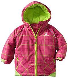 Rugged Bear Little Girls  Plaid Printed Ski Jacket, Pink, 2T