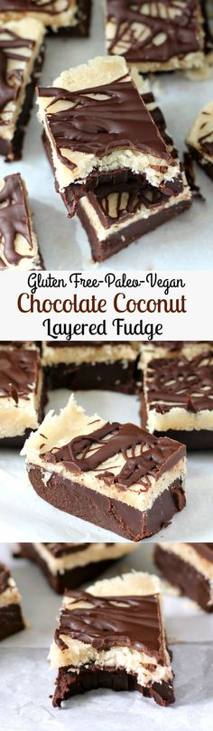 Layered Chocolate and Coconut Fudge that's no bake, gluten free, Paleo, dairy free, and Vegan. Rich, creamy and indulgent without the junk!