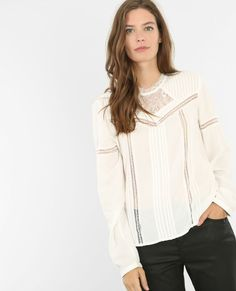 Blouse victorienne PIMKIE Ruffle Blouse, Long Sleeve, Sleeves, Tops, Dresses, Fall Winter, Women, Fashion, Off White Color