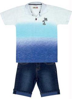 CONJUNTO POLO MAR AZUL/BERMUDA JEANS Conjunto Marisol contendo Camisa Polo em meia malha, peitilho com fecho em botão, estampa personalizada e Bermuda em jeans, com bolsos frontais e traseiros, barra dobrada e passante para cinto.  Cor: Azul. Composição: Camisa Polo: Algodão 100% Bermuda: Algodão 98% Elastano 2%.
