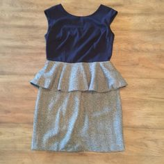 Navy and tweed peplum dress, NWT Navy and tweed peplum dress, NWT Fabrik Dresses