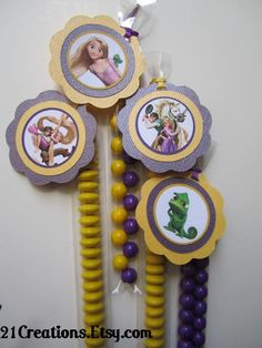 tangled party favors: fill with m&m's, skittles or pencils