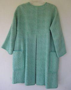 1960s Bonnie Cashin Aqua Boucle Wool Swing Coat image 4