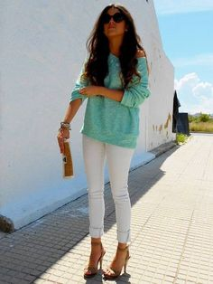 Baggy off the shoulder sweater with tights or skinny's!