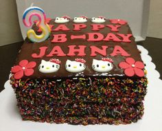 Chocolate Cake with Chocolate Ganache and Fondant Flowers/ Hello Kitty Toppers