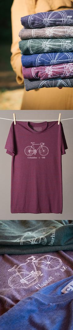 This company sells bike tees with your city's name on them. You can choose from 45 different cities and get a custom t-shirt made just for you.  It's a perfect idea for gifts, especially with so many great places on the list!  I've been to a ton of these cities on various road trips through the years and loved them... Bellingham WA, Asheville NC, Madison WI, Portland ME... It makes me want to go on another trip!