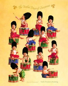 Christmas Art - Twelve Drummers Drumming by Anne Geddes Anne Geddes, Christmas Wall Art, Christmas Baby, Christmas Desktop, Merry Christmas, Seven Swans, Twelve Days Of Christmas, Cute Baby Pictures, Special Pictures