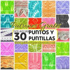 30 Puntos y Puntillas Dos Agujas / Patrones | Crochet y Dos agujas Crochet Book Cover, Crochet Books, Baby Blanket Crochet, Crochet Baby, Knit Crochet, Crochet Blankets, Crotchet Stitches, Knitting Stitches, Knitting Books