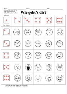 Arbeitsblatt: Wie geht's dir? Laat leerlingen dobbelen. Vervolgens komen ze uit bij een smiley. Ze moeten met het gevoel bij de smiley dan twee zinnen maken. Bijvoorbeeld: Mir geht es schlecht weil ich Kopfschmerzen habe.