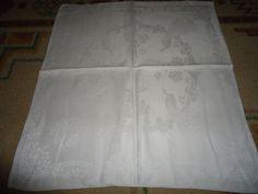 "Vintage Irish Linen Napkins.  Set of 2. Peacocks. 20"" X 20"""