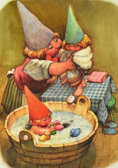 Bath time for little gnomes. Woodland Creatures, Fantasy Creatures, Illustrations, Illustration Art, David The Gnome, Kobold, Elves And Fairies, Dutch Artists, Fairy Art