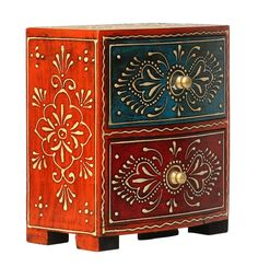 """Bulk Wholesale Handmade 6.4"""" Wooden Jewelry Box with 2 Drawers Enhanced with Old-World Cone Painting in Red, Yellow, Blue and Orange Color & Golden Metal Knobs – Antique-Look Box from India"""