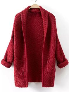 Red Long Sleeve Pockets Knit Cardigan Mobile Site