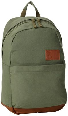 Volcom Juniors Going Back Canvas Backpack, Olive, One Size
