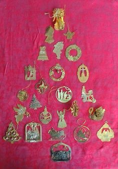 25 Assorted Brass and Gold Tone Vintage Christmas Tree Ornaments or use for an Advent Calendar may have wear, missing hangers and/or pieces. But