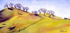 by award-winning artist Maud Durland, Portland Oregon. Watercolor Landscape Paintings, Watercolor Trees, Landscape Prints, Landscape Art, Watercolor Techniques, Art Sketchbook, Painting & Drawing, Nature, Oak Hill