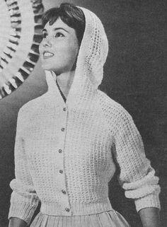 1956 À capuchon court veste Vintage Knitting Pattern par annalaia, $3.75