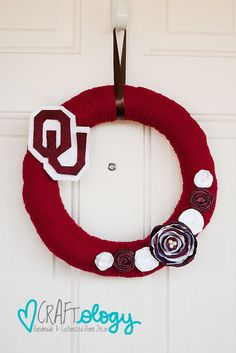 Oklahoma Sooners Football Wreath by JustTwoMilitaryWives on Etsy