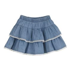 Denim Skirt - - New Ideas Little Girl Skirts, Skirts For Kids, Little Girl Dresses, Girls Dresses, Baby Dress Patterns, Jeans Rock, Cute Outfits For Kids, Tiered Skirts, Casual Skirts