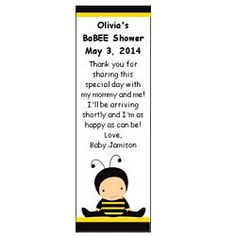 BaBEE Shower Personalized Bookmark, Baby Shower Bookmarks, Personalized Bookmarks, Bee Theme