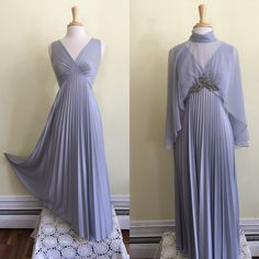 A personal favorite from my Etsy shop https://www.etsy.com/listing/478449239/vintage-1970s-silver-blue-pleated-full #70sgoddessgown #70sgown #70sglamour