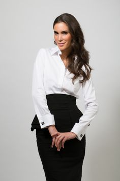 White French cuff shirt with Miss Links cufflinks for women