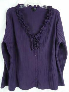 East 5th Women's Purple V Neck Ruffle Front Long Sleeve Blouse Size 1x | eBay