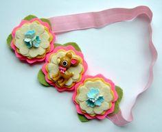 Felt Flower Headband Halo Petite Fawn Headband by giddyupandgrow, $20.00