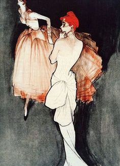 Gown by Christian Dior and Jacques Fath, illustrated by Rene Gruau, 1948