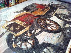 mosaic panel Retro Car