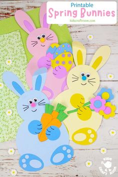 Make adorable Spring Bunny Crafts. Each cute rabbit is holding a bunch of flowers, pile of tasty carrots or a hoard of decorated Easter eggs. This is such a cute spring craft and Easter craft for kids. (Printable B/W and colour template.) #kidscraftroom #kidscrafts #eastercrafts #springcrafts #preschoolcrafts #easterbunny Easter Craft Activities, Easter Arts And Crafts, Creative Arts And Crafts, Spring Crafts For Kids, Bunny Crafts, Craft Projects For Kids, Easter Crafts For Kids, Arts And Crafts Projects, Easter Ideas