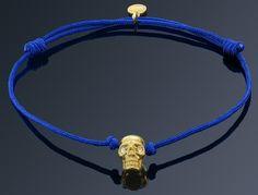 Bratara Albastra cu Craniu Placat Aur Aur