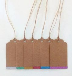 Christmas gift tags decorated with glitter set of 6