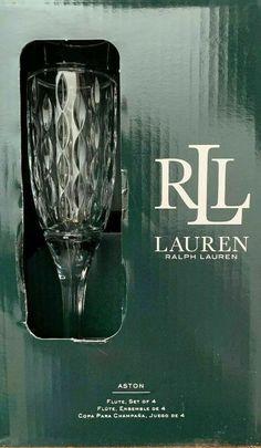 Ralph Lauren Aston Fine Crystal Champagne Flute Glasses Set of Four New Crystal Glassware, Crystal Decanter, Crystal Champagne, Champagne Flutes, Flute Glasses, Whiskey Decanter, Wine Goblets, Selling On Ebay, Dinner Table