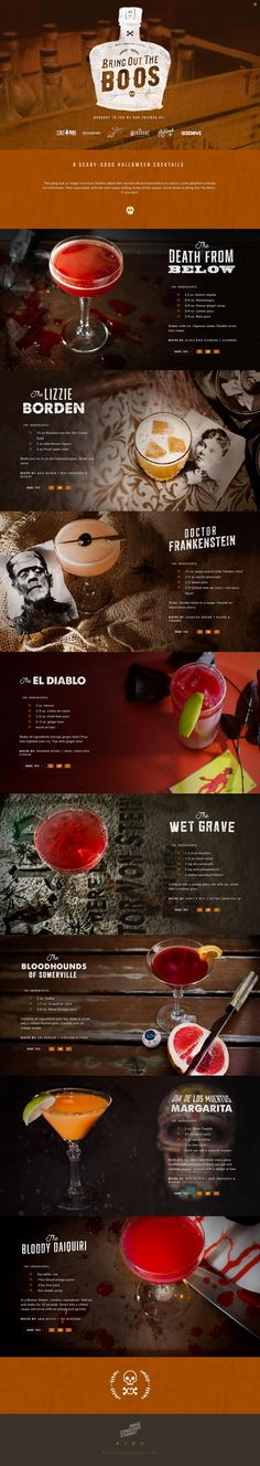 'Bring Out the Boos!' is a fun One Pager providing horror-themed cocktails for your upcoming Halloween party. The Single Page website features clearly laid out cocktail recipes alongside good imagery of the drink on a gory background.