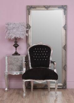 Louis Black Chair Silver And Black Diamante Louis