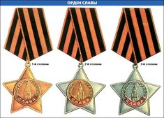 Soviet Union - Order of Glory (from left to right): 1st Class, 2nd Class, and 3rd Class.