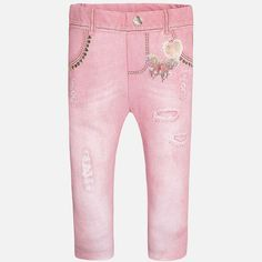 Baby girls pink, full-length leggings by Mayoral. They have an elasticated waistband and are made in a denim-effect stretch cotton, with a butterfly and metallic detail print