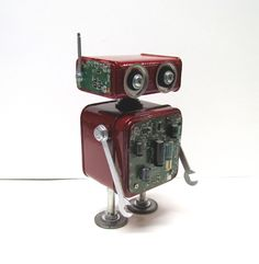 Found Object Robot Sculpture / Assemblage Robot Figurine - One of a kind unique creation - Unique Gift by VINTAGEandMOREshop on Etsy https://www.etsy.com/listing/280966086/found-object-robot-sculpture-assemblage