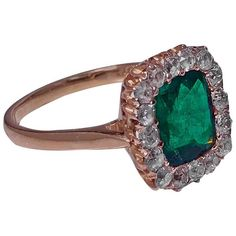 Preowned Antique English Emerald And Diamond Ring ($9,500) ❤ liked on Polyvore featuring jewelry, rings, green, cushion cut ring, emerald diamond ring, diamond jewellery, 18k ring and diamond rings