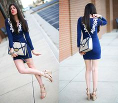 Motel Dress Body Con Navy Dress, Alexander Wang Wedges, Danielle Nicole Cream And Navy Bag