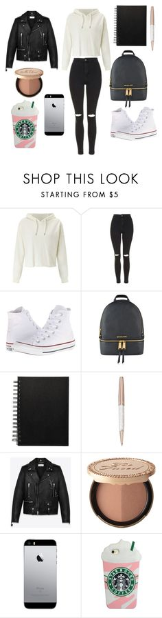 """""""Untitled #235"""" by reka15 on Polyvore featuring Miss Selfridge, Topshop, Converse, MICHAEL Michael Kors, Swarovski, Yves Saint Laurent and Too Faced Cosmetics"""