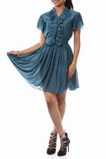 Blue Rustic Frill Dress By Bhusattva