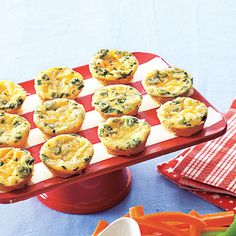 Cheesy Crustless Mini Quiches    Cost per serving: 20¢    This cheap and tasty Cheesy Crustless Mini Quiches recipe is an easy way to please a crowd. Feel free to add another type of cheese to suit your preferences, or whatever you already have in your fridge.